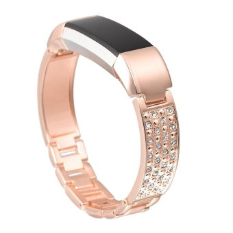 Harga For Fitbit Alta HR and Alta Bands,Replacement Metal Bands with Rhinestone Rose Gold - intl