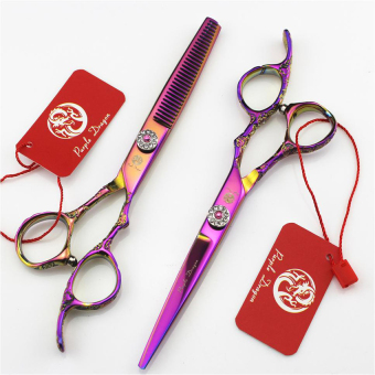 1 Set 6 Inch Purple Dragon 440C Professional Hair Scissors PlumHandle Cutting Thinning Scissors barber shears Grooming Supplies - intl Price Philippines