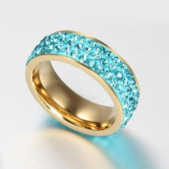 Women Crystal Ring Stainless Steel Wedding Ring(Blue) - intl Price Philippines