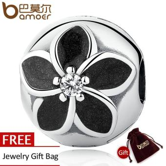BAMOER 100% 925 Sterling Silver Mystic Floral Clip, Clear CZ & Black Enamel Flower Beads Charms fit Bracelets & Necklaces PSC044 - intl Price Philippines