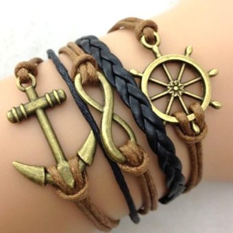 Harga Retro Infinity Anchor Rudder Leather Charm Bracelet Bronze Gift Cute Black Brown