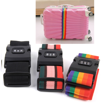 Harga Travel Combination Secure Lock Adjustable Strap Luggage Suitcase (Multicolor)