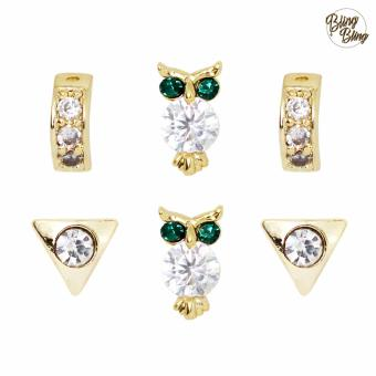 Harga Bling Bling Caroline Gold Earrings Pair of 3