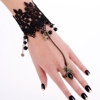 Women Black Lace Flower Bracelets With Ring Butterfly Tassels Beads (Black) - Intl Price Philippines