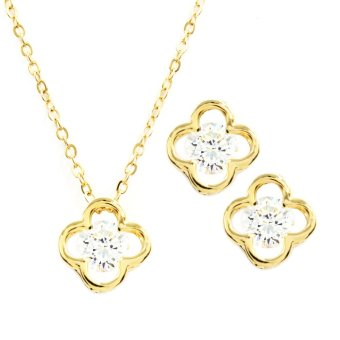 Harga Bling Bling Keira Earrings and Necklace Jewelry Set (Gold)