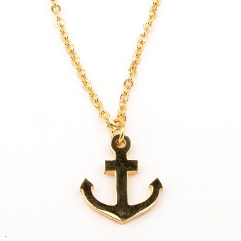 Stainless Steel Anchor Pendant Necklace (Gold Plated) Price Philippines