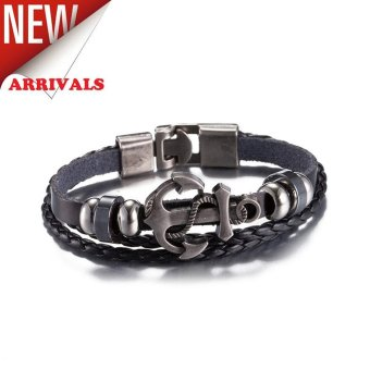 Premium Leather Charcoal Black Anchor Bracelet Price Philippines