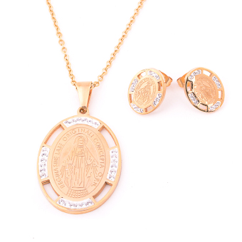 Glamorosa Holy Immaculate Conception Necklace and Earrings Set (Gold) Price Philippines