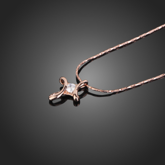 Rose Gold 18K Crystal Rhinestone Inlay Infinity Cross Necklace Pendant Xmas Price Philippines