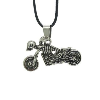 Skull Motorcycle Necklace for Man Punk Pendant Leather Chain Male Jewelry - intl Price Philippines