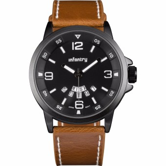 INFANTRY Mens Date Day Quartz Wrist Watch Night Vision Sport Army Brown Leather Price Philippines