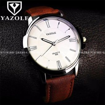 Harga Yazole Men's Sunray Collection Brown Leather Strap Watch (White Face)