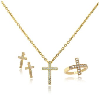 Persian Princess Ayra Holy Cross Jewelry Set Necklace Ring Earrings (Gold) Price Philippines
