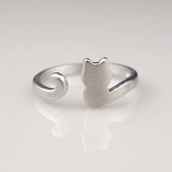 Hequ silver cat ring adjustable ring Cute cat Ring Lovely cat jewelry - intl Price Philippines