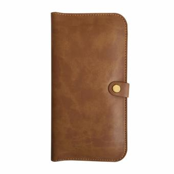 Ideal1 Wallet Pouch men and women long thin leather handbags personality of young Korean mobile phone bag(Coffee) Price Philippines