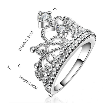 Harga Moonar Fashion Princess Crown Rhinestone Ring Fine Jewelry (Intl)