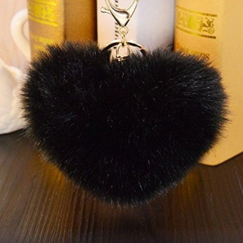 12CM Heart Shape Faux Rabbit Fur Ball Pom Pom Keychain Charms for Women Bags Car Key Ring - intl Price Philippines