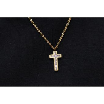 Harga Plated Gold Cross Pendant Necklace2