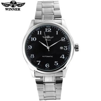 Harga 2016 WINNER famous brand men business automatic self wind watches black dial transparent glass silver case stainless steel band