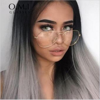 Harga 2017 Transparent Large Size Women Aviator Glasses Ray 3025 Metal Frame Glasses Optical Lens Transparent Fake Griffin - intl