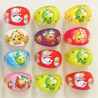 20pcs Mixed Cartoon Party Favors Mixed Lovely Cartoon Shopkins Toy Kids Girls Rings Party Supplies Birthday Gift - intl Price Philippines