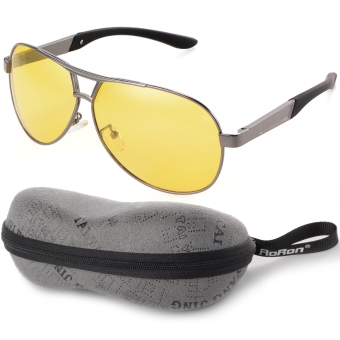 Harga Night Vision Polarized Men's Sunglasses Outdoor Driving Glasses Yellow Lens+Grey Frame OS398-SZ