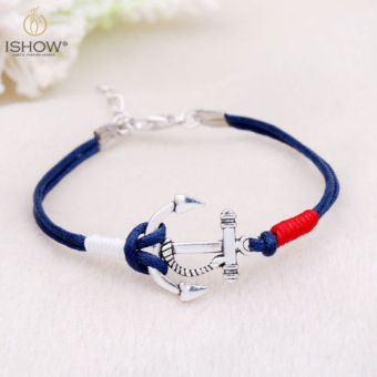 Multilayer Leather Cuff Wristband Anchor Bracelet - intl Price Philippines