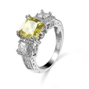 Harga EOZY Women Square Peridot Rings Female White Gold Plated Wedding Ring (Yellow) - intl