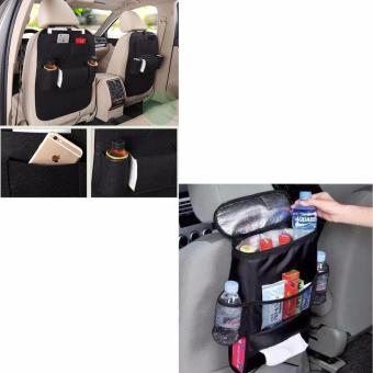 Insulated Car Seat Back Organizer Bottle Drinks Storage BagPreservation Bag (Black) With MultiFunctional Automobile