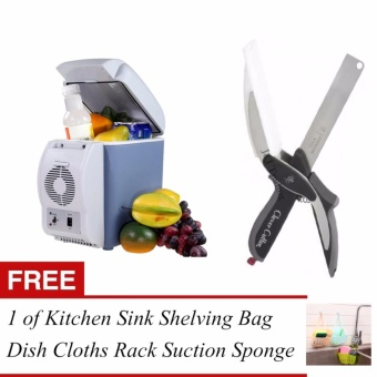 J&J 7.5L Mini Fridge Cooler and Warmer Auto Car PortableElectronic Refrigerator and Clever Cutter 2 in 1 Kitchen Knife& Cutting Board Scissors Stainless Steel with FREE 1 of KitchenSink Shelving Bag Dish Cloths Rack Suction Sponge Hanging Drain