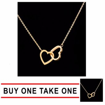 J&J Buy One Take One Luxury Gold Twin Heart Necklace