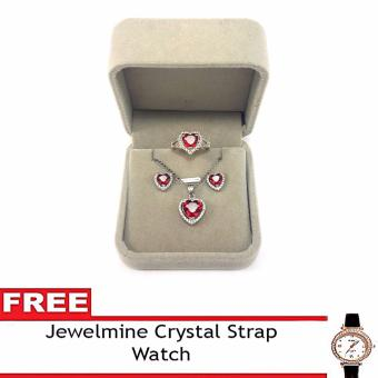 Jewelmine Heart White Cubic Zircon Jewelry Set with free Crystal Leather Strap Watch ( white gold)