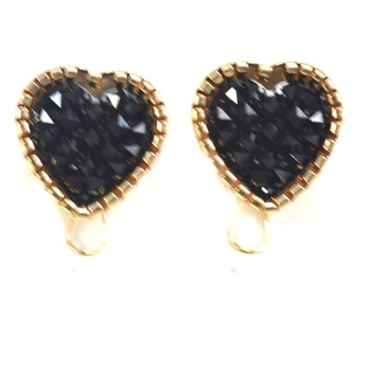 Jewelmine Onyx Heart Multi Faceted Earrings (18k Gold Plated)