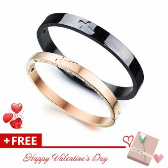 Jewelry Cross Stainless Steel Radiation Protection Link ChainBangles Energy Magnetic Stone Wristband Lovers' Couple Bracelets(Black & Gold) - intl