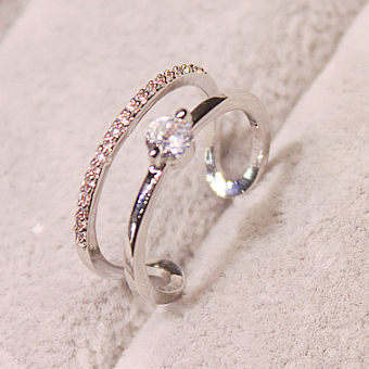 Jianyue exaggerated women's Ring (Silver. Double Layer diamond edge)
