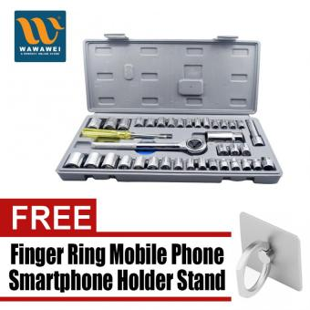 JOSE 40PCs Socket Set (L) (Multicolor) with free Finger Ring MobilePhone Smartphone Holder Stand for iPhone (Silver)