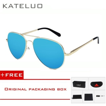 KATELUO Fashion Sun Glasses Polarized Coating Mirror Driving Men's Sunglasses Oculos de sol Male Eyewear Accessories For Men/Women 0922(Gold Blue) [ free gift ]