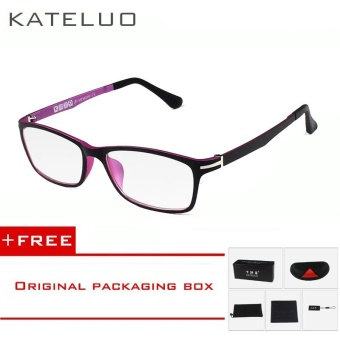 KATELUO TUNGSTEN CARBON STEEL Computer Goggles Anti Fatigue Radiation-resistant Glasses Frame Eyeglasses 13025 (Pink) [ free gift ]