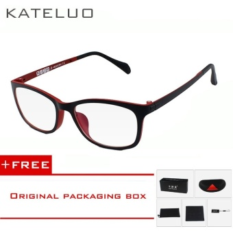 KATELUO TUNGSTEN Computer Goggles Anti Laser Fatigue Radiation-resistant Glasses Eyeglasses Frame Eyewear Spectacle Oculos 13031 (red)[ free gift ]