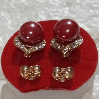 Korean Round earring with  Good luck Charm (maroon) and stones Hypoallergenic