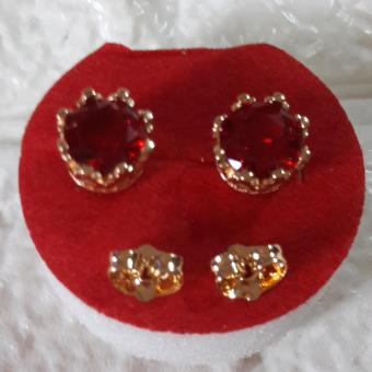 Korean Royal Crown earring with Good luck Charm stone RUBY Hypoallergenic