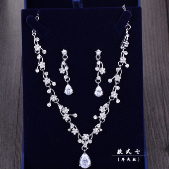 Korean style micro zircon necklace earrings