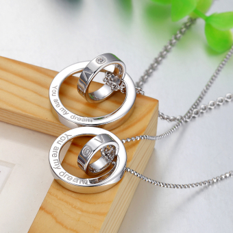Korean-style silver for men and women lettering couple's necklace Ring