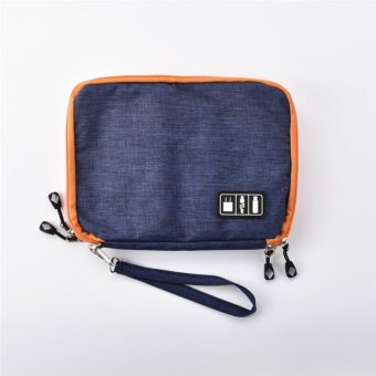 Large Double Layer Organizer Bag Storage Travel Digital ElectronicAccessory Case (Blue) - intl