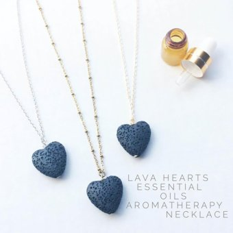 Lava Hearts Essential Oils Aromatherapy Necklace Fashion Jewelry -intl Price Philippines