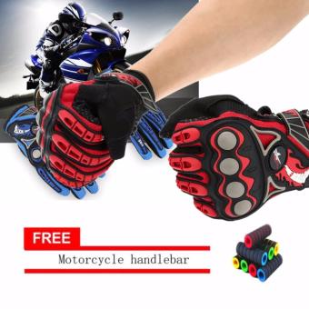 lazada and USA best selling Full Finger Motorcycle Cycling Racing Riding Protective Gloves M L XL (Black+red) With Motorcycle handlebar sleeve