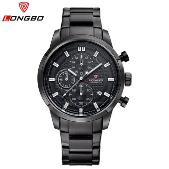LONGBO 2016 Hot Seller LONGBO Luxury Brand Sports Army Stainless Steel Waterproof Multifunction Mens Wristwatches Analog Watches 80181 - intl