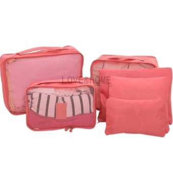 LOVE&HOME 6 in 1 Secret Pouch Travel Organizer Set (Peach)
