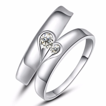 LOVE&HOME JZ-05 Lovely Sterling Silver with Zircon Stone CoupleRing(Silver)