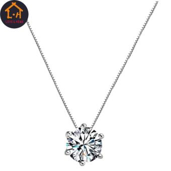 LOVE&HOME Silver Clavicle Chain Zircon Pendant Necklace